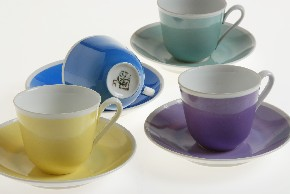 Set of cups with saucers