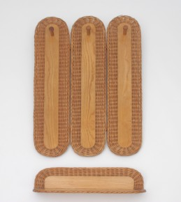 Wicker coat wall with shelve