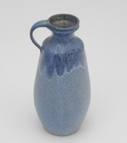 Blue ceramic vase with handle